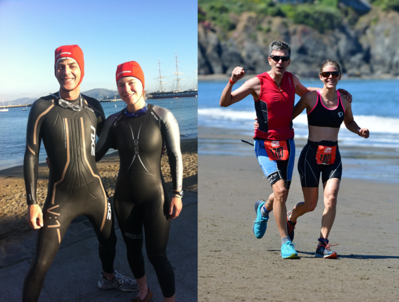 From training days to race days, family plays a big part in Ashley's triathlon experiences. Pictured here with dad Steve Titan.