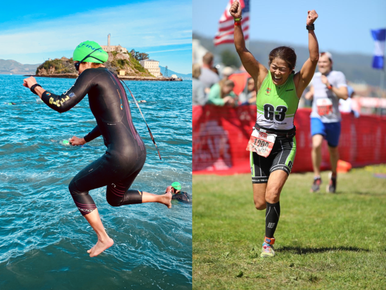 LEFT: Jumping off the boat during Water World Swim practice / RIGHT: Approaching the finish line in 2018 (I crashed on the bike course, so I was especially happy to see the finish)