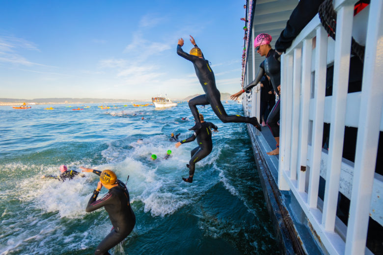 Athletes will jump from the San Francisco Spirit to start the swim